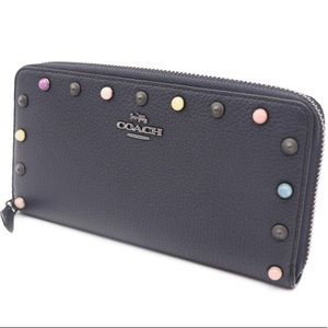 COACH Midnight Blue Pebbled Leather Studded Wallet